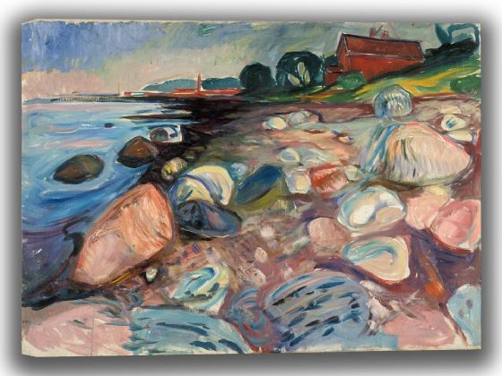 Munch, Edvard: Shore with Red House. Fine Art Canvas. Sizes: A4/A3/A2/A1 (0084)